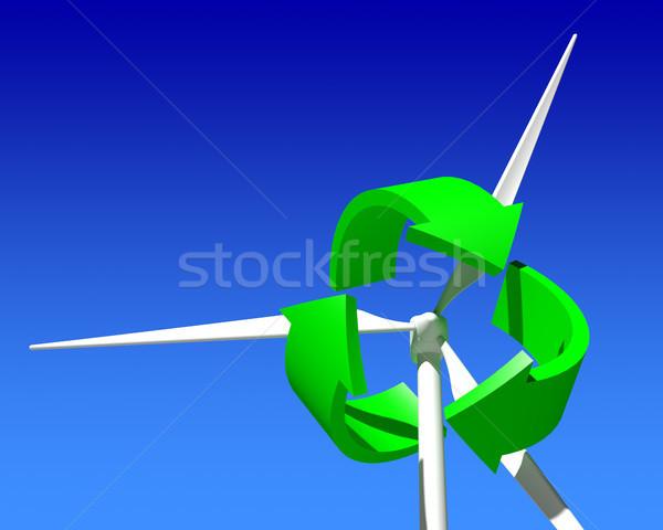 Wind generator turbine blauwe hemel groene hernieuwbare energie Stockfoto © maxpro