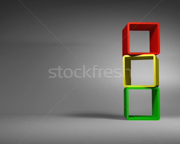 Stock photo: Varicolored Abstract Rectangle Frames Standing in the Gray Room