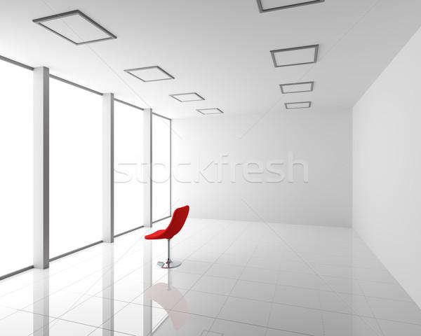 Foto stock: Vazio · moderno · branco · interior · vermelho · cadeira