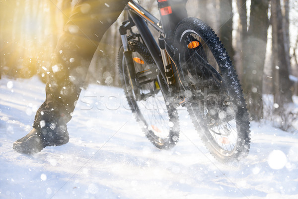 Stock photo: Professional Cyclist Riding the Bike on the Snowy Trail Lit by Sun. Winter Extreme Sports Concept.
