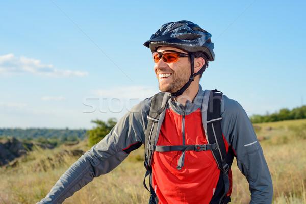 портрет молодые велосипедист шлема очки спорт Сток-фото © maxpro