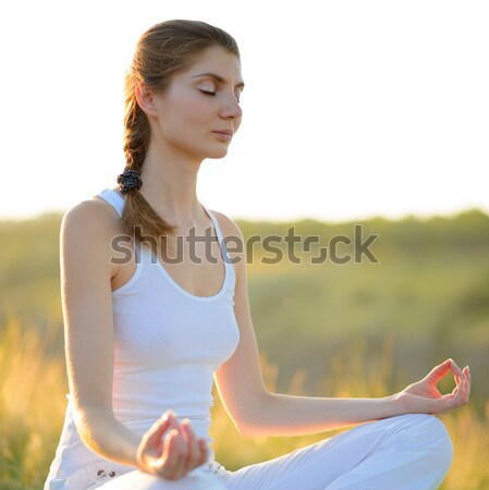 Young Beautiful Woman Practices Yoga on the Sunny Meadow Stock photo © maxpro