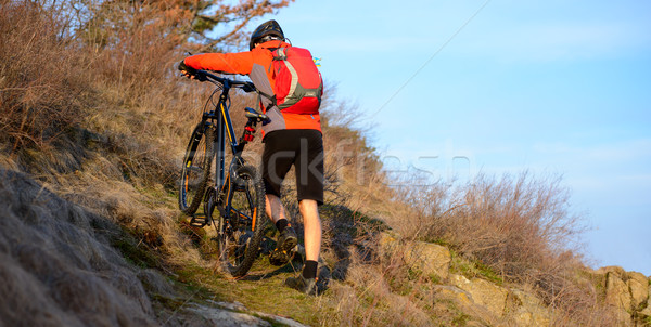 велосипедист горных велосипедов вверх тропе Экстрим Сток-фото © maxpro