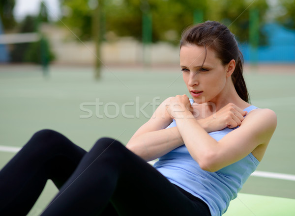 Young Athletic Woman Practice Workout Exercises Outdoor Stock photo © maxpro