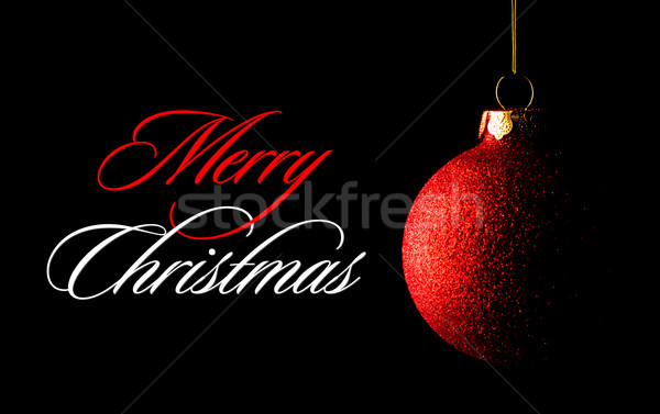 Red Christmas Ball on the Black Background. Greeting Card Stock photo © maxpro