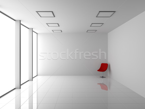 Stock photo: Empty Modern White Interior with Red Chair