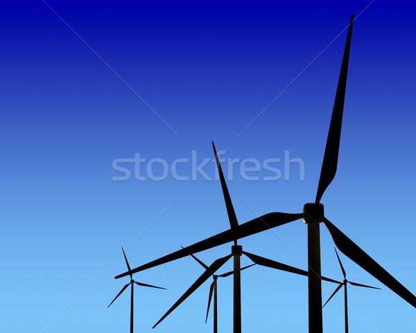 風 ジェネレータ 日没 緑 再生可能エネルギー 空 ストックフォト © maxpro
