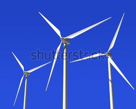 ветер генератор Blue Sky зеленый пейзаж Сток-фото © maxpro