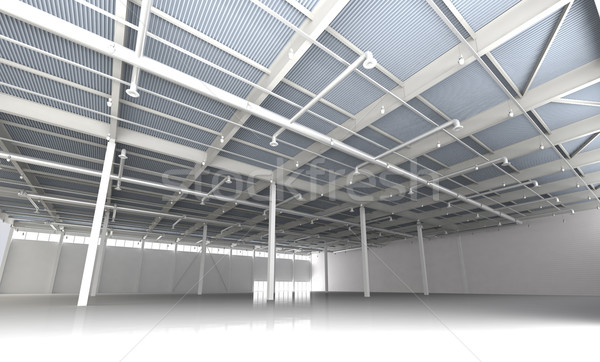 New Modern Empty Storehouse. Huge Light Storehouse Stock photo © maxpro