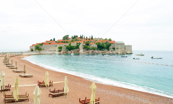 Stock photo: Luxury Sand Beach near Island and Resort Sveti Stefan, Montenegro. Balkans, Adriatic sea, Europe.