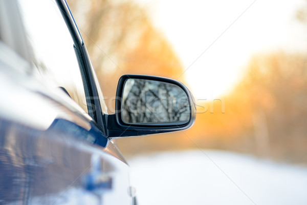 Close up Image of Side Rear-view Mirror on a Car in the Winter Landscape with Evening Sun Stock photo © maxpro