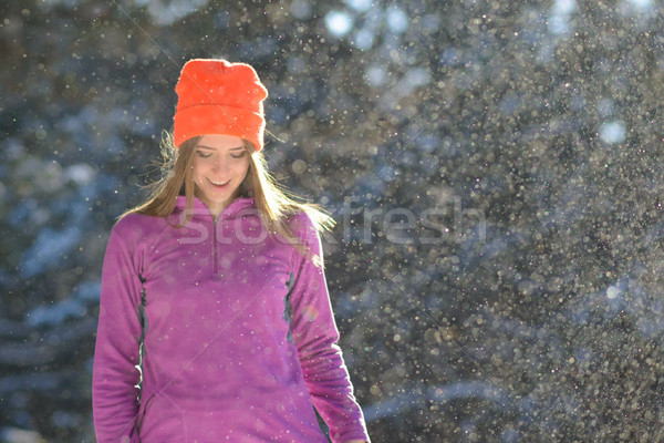 Stock photo: Young Woman Runner Smiling in Beautiful Winter Forest at Sunny Frosty Day. Active Lifestyle and Spor
