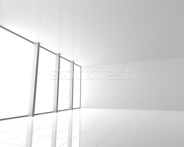 Empty Modern White Interior with Windows Stock photo © maxpro
