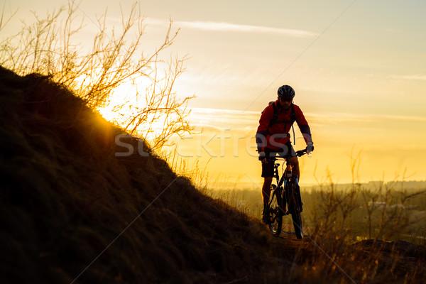 силуэта велосипедист верховая езда горных велосипедов тропе закат Сток-фото © maxpro