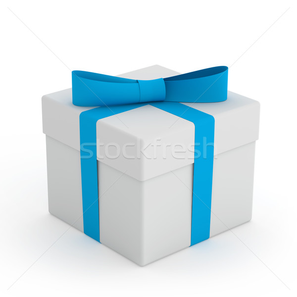 White Gift Box with Blue Ribbon and Bow on the White Background Stock photo © maxpro