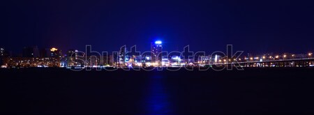 Night Skyline of Dnipropetrovsk over the river Dnipro, Ukraine Stock photo © maxpro
