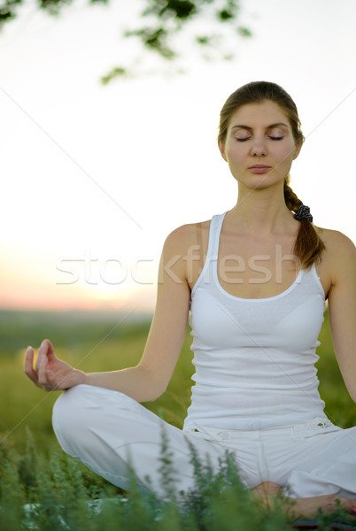 Stock photo: Young Beautiful Woman Practices Yoga on the Meadow