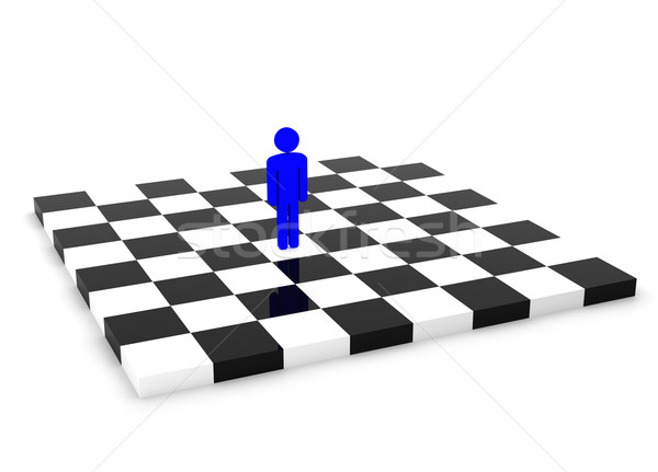 One Blue Human Figure Standing Alone on the Empty Chessboard Stock photo © maxpro