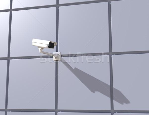 Biztonsági kamera homlokzat épület modern épület város utca Stock fotó © maxpro