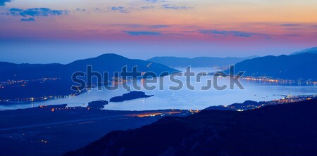 Bay of Kotor at Night. High Resolution Panorama of Boka-Kotorska bay. Kotor, Tivat, Perast, Monteneg Stock photo © maxpro