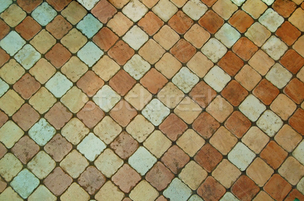 Grunge Tiled Floor Background with Coloured Tiles Stock photo © maxpro
