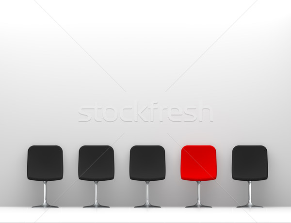 One Red Chair and Four Black Chairs in the White Interior. Copy  Stock photo © maxpro