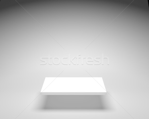Empty white shelve on grey background in bright illumination Stock photo © maxpro