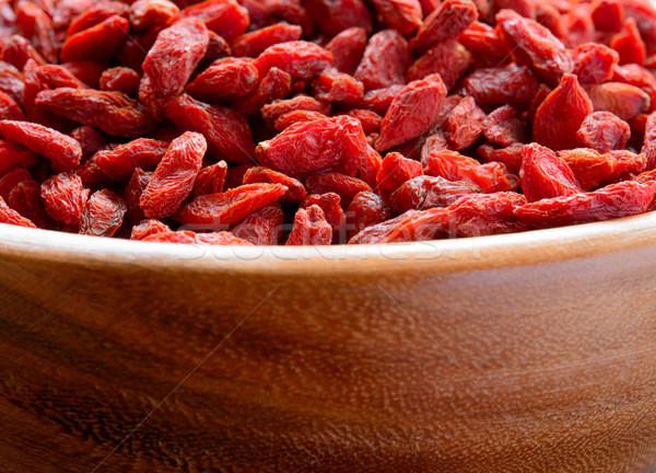 Stockfoto: Houten · kom · vol · gedroogd · bessen · gezonde · voeding
