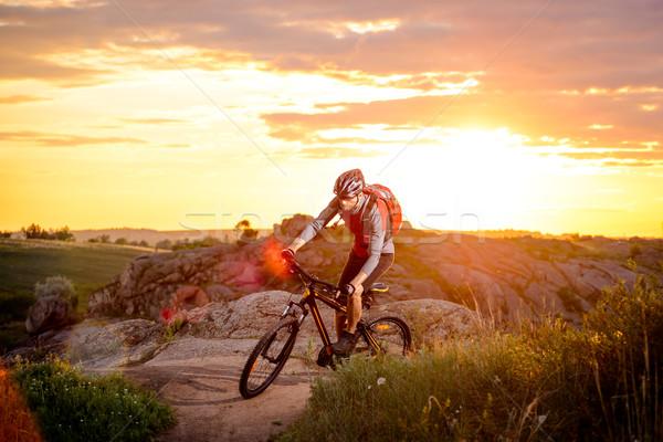 Fietser paardrijden fiets berg parcours zonsondergang Stockfoto © maxpro