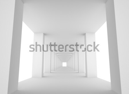 Empty White Tunnel with Bright Light at the End Stock photo © maxpro