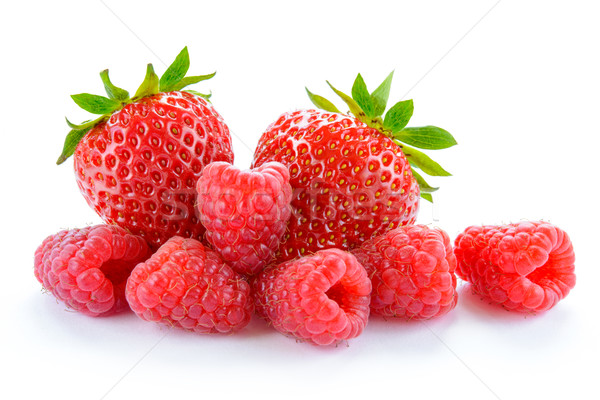 Stock photo: Heap of Sweet Strawberries and Juicy Raspberries Isolated on White Background. Summer Healthy Food C