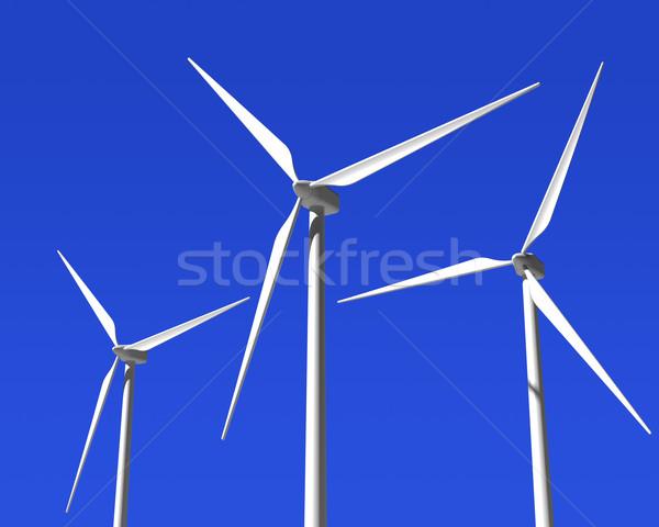 Szél generátor kék ég zöld megújuló energia tájkép Stock fotó © maxpro