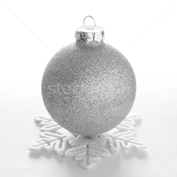 Stock photo: White Christmas Ball and Decorative Snowflake on the White Background