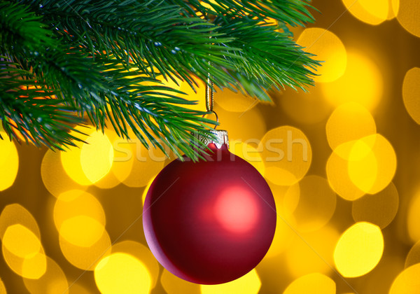 Red Christmas Ball and Green Fir Branch on the Blurred Background with Bright Yellow Holiday Lights Stock photo © maxpro