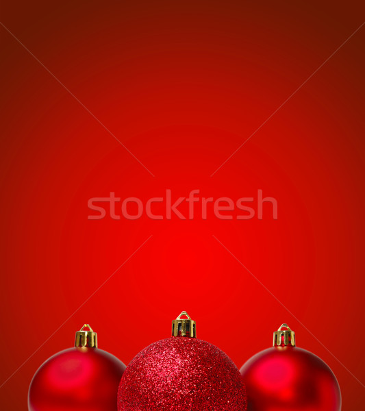 Red Christmas Balls on Red Background. New Year Greating Card Stock photo © maxpro