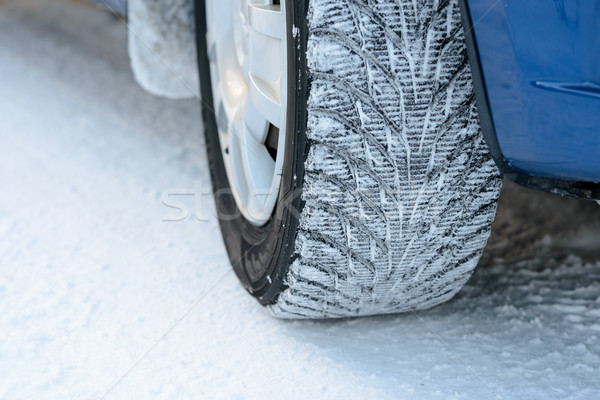 Stock photo: Close-up Image of Winter Car Wheel on Snowy Road. Drive Safe Concept.