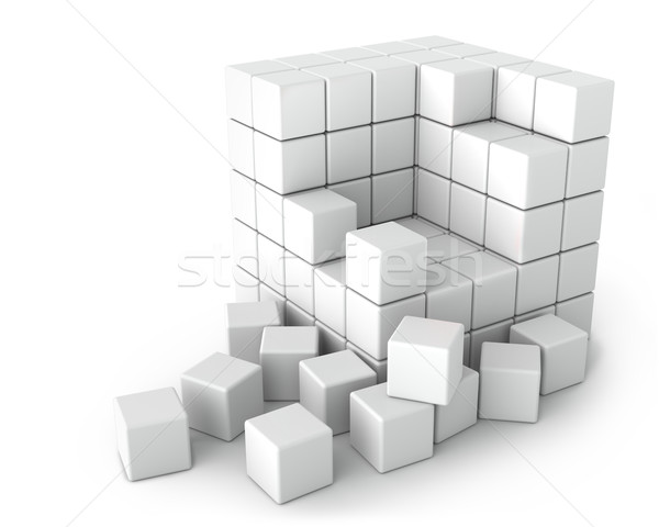 Big White Cube of Small Cubes on White Background Stock photo © maxpro