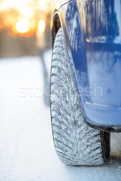 Közelkép kép tél autó kerék út Stock fotó © maxpro