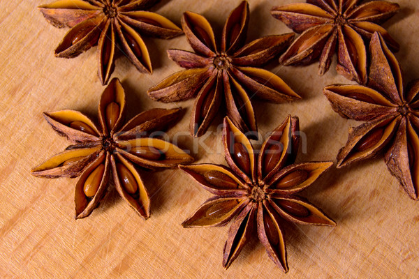 Star Anise on the Wooden Background Stock photo © maxpro