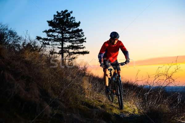 Stock photo: Enduro Cyclist Riding the Mountain Bike on the Rocky Trail at Sunset. Active Lifestyle Concept. Spac
