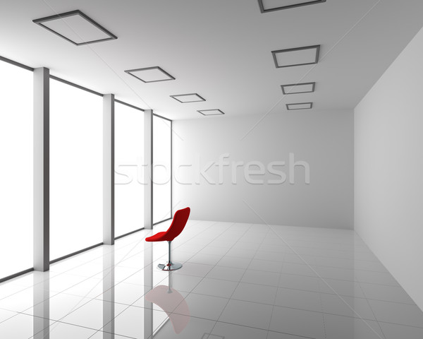 Empty Modern White Interior with Red Chair Stock photo © maxpro