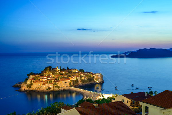 Stock photo: Beautiful Island and Luxury Resort Sveti Stefan at Night, Montenegro. Balkans, Adriatic sea, Europe.
