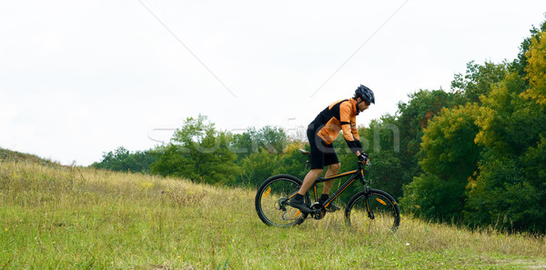Cyclist Riding the Bike in the Beautiful Autumn Forest Stock photo © maxpro