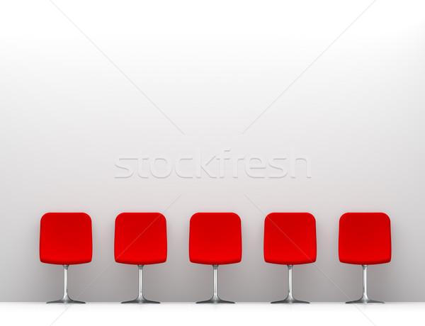 Foto stock: Cinco · vermelho · cadeiras · branco · interior · cópia · espaço
