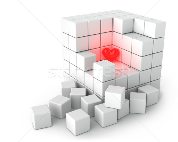 Red Bright Heart and Big White Cube of Small Cubes on the White Stock photo © maxpro