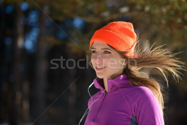 若い女性 を実行して 美しい 冬 森林 晴れた ストックフォト © maxpro