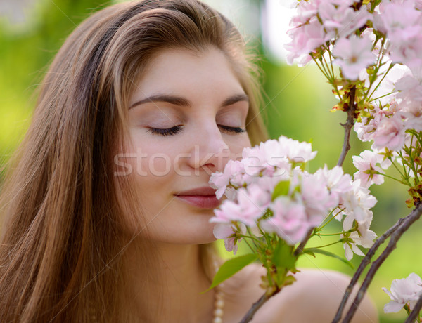 Young Beautiful Woman Smelling a Pink Sakura Flowers Stock photo © maxpro