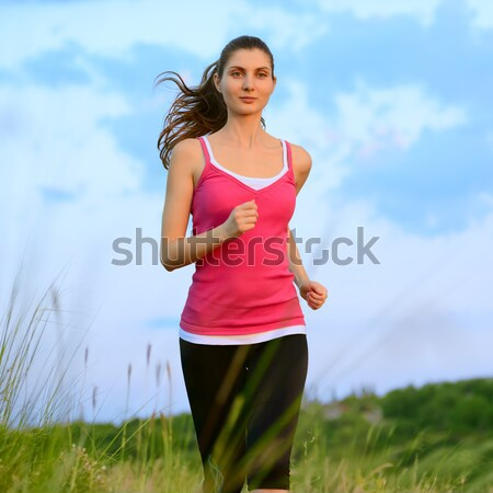 Fiatal gyönyörű nő fut hegy nyom reggel Stock fotó © maxpro