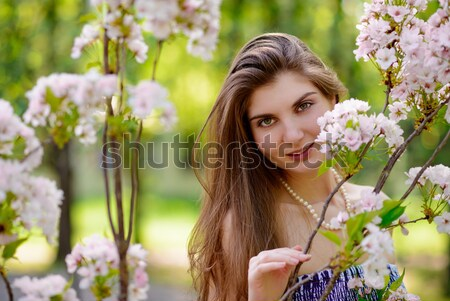 Young Beautiful Woman with Pink Sakura Flowers Stock photo © maxpro