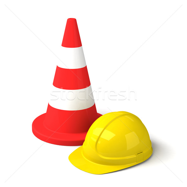 Traffic Cone and Hard Hat Icon Isolated on White Background Stock photo © maxpro